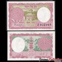 NEPAL - Billet de 1 Roupie - Temple - 1960 P8a