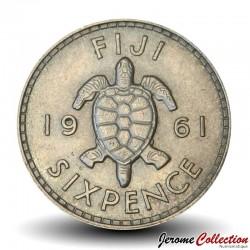 FIDJI - PIECE de 6 Pence - Tortue - 1961 Km#19