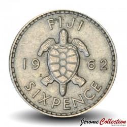 FIDJI - PIECE de 6 Pence - Tortue - 1962 Km#19