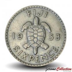 FIDJI - PIECE de 6 Pence - Tortue - 1953 Km#19