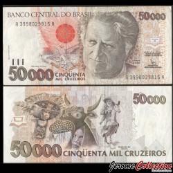 BRESIL - Billet de 50000 Cruzeiros - Luís da Câmara Cascudo - 1992 P234a