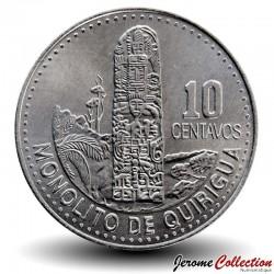 GUATEMALA - PIECE de 10 Centavos - Stèle Maya - 2009 Km#277