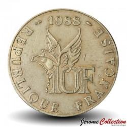 FRANCE - PIECE de 10 Francs - Roland Garros - 1988 - Tranche B