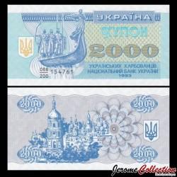 UKRAINE - Billet de 2000 Karbovanets - Les frères Viking - 1993 P92a