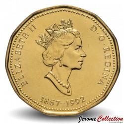 CANADA - PIECE de 1 DOLLAR - 125e anniversaire de la fédération canadienne - 1992