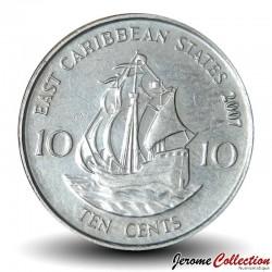 "CARAIBE ORIENTALE - PIECE de 10 Cents - Bateau ""Golden Hind"" - 1999"