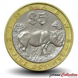 ZIMBABWE - PIECE de 5 Dollars - Rhinocéros - 2001 Km#13