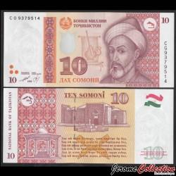 TADJIKISTAN - Billet de 10 Somoni - Mir Sayyid Ali Hamadani - 1999 P16a