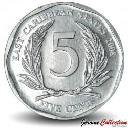 CARAIBE ORIENTALE - PIECE de 5 Cents - 2008 Km#36
