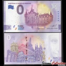 BILLET TOURISTIQUE - ZERO 0 EURO - FRANCE - Château d'Azay-le-Rideau - 2021 UEGJ - 2021-2