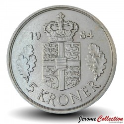 DANEMARK - PIECE de 5 Kroner - Marguerite II - 1984 Km#863