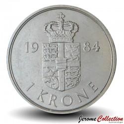 DANEMARK - PIECE de 1 Krone - Marguerite II - 1984 Km#862