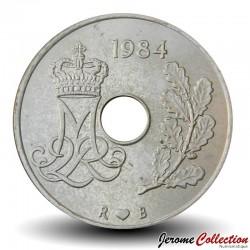 DANEMARK - PIECE de 25 øre - Monogramme de Marguerite II - 1984 Km#861