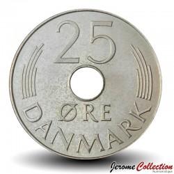 DANEMARK - PIECE de 25 øre - Monogramme de Marguerite II - 1984