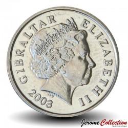 GIBRALTAR - PIECE de 5 Pence - Macaque de barbarie et Ibéris de Gibraltar - 2003