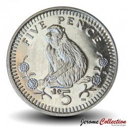 GIBRALTAR - PIECE de 5 Pence - Macaque de barbarie et Ibéris de Gibraltar - 2003 Km#775