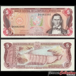 REPUBLIQUE DOMINICAINE - Billet de 5 Pesos Oro - Francisco del Rosario Sánchez - 1990 P131a