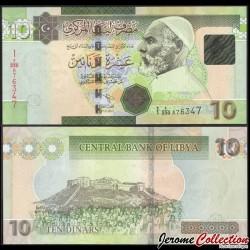 LIBYE - Billet de 10 Dinars - Omar el Moukhtar - 2011 P78Ab