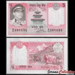 NEPAL - Billet de 5 Roupies - 2 Yaks - 1985 P23c