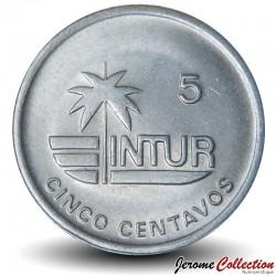 CUBA - PIECE de 5 CENTAVOS - Instituto Nacional de Turismo - Coquillage - 1989 Km#412