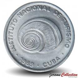 CUBA - PIECE de 5 CENTAVOS - Instituto Nacional de Turismo - Coquillage - 1989