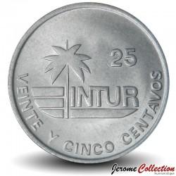 CUBA - PIECE de 25 CENTAVOS - Instituto Nacional de Turismo - Fleur Mariposa - 1989 Km#418