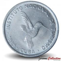 CUBA - PIECE de 25 CENTAVOS - Instituto Nacional de Turismo - Fleur Mariposa - 1989