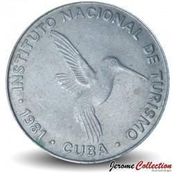 CUBA - PIECE de 10 CENTAVOS - Instituto Nacional de Turismo - Colibri - 1981 Km#414