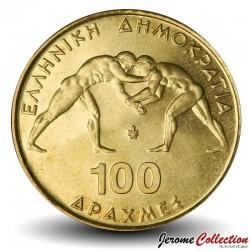 GRECE - PIECE de 100 DRACHMES - Championnat du monde de Lutte Greco-Romaine - 1999 Km#173