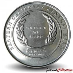 CARAIBE ORIENTALE - PIECE de 1 Dollar - 25 ans de la Banque Centrale - 2008 Km#58