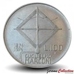 ITALIE - PIECE de 100 Lire - Centenaire de la naissance du physicien Guglielmo Marconi - 1974 Km#102