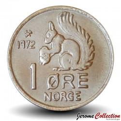 NORVEGE - PIECE de 1 Øre - Écureuil - 1972 Km#403