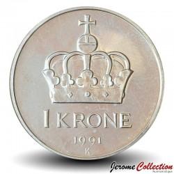 NORVEGE - PIECE de 1 Krone - Le roi Olav V - 1991