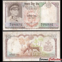 NEPAL - Billet de 10 Roupies - Antilopes - 1979 P24b