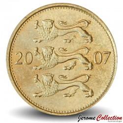 ESTONIE - PIECE de 50 Senti - Le petit blason (trois lions) - 2007 Km#24