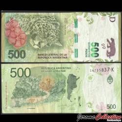 ARGENTINE - Billet de 500 Pesos - Jaguar - 2018 P365b