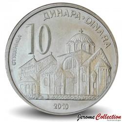 SERBIE - PIECE de 10 Dinara - Monastère de Studenica - 2010 Km#41