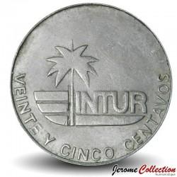 CUBA - PIECE de 25 CENTAVOS - Instituto Nacional de Turismo - Fleur Mariposa - 1981 Km#418