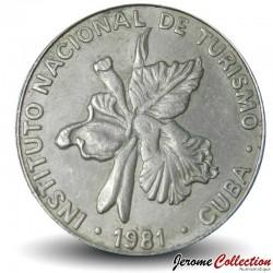 CUBA - PIECE de 25 CENTAVOS - Instituto Nacional de Turismo - Fleur Mariposa - 1981