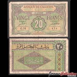 ALGERIE - Billet de 20 Francs - 04.06.1948 P103a