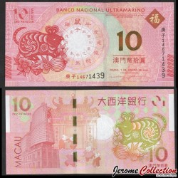 MACAO - BNU - Billet de 10 Patacas - Année Lunaire Chinoise du Rat - 2020 P88e