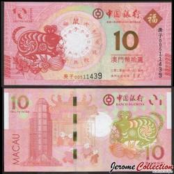MACAO - Banque de Chine - Billet de 10 Patacas - Année Lunaire Chinoise du Rat - 2020 P123a