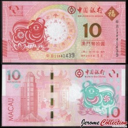 MACAO - Banque de Chine - Billet de 10 Patacas - Année Lunaire Chinoise du buffle - 2021 P124a