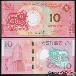 MACAO - BNU - Billet de 10 Patacas - Année Lunaire Chinoise du Buffle - 2021 P88f