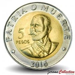 CUBA - PIECE de 5 Pesos - Antonio Maceo - Bimétal - 2016 Km#966