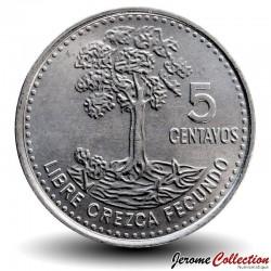 GUATEMALA - PIECE de 5 Centavos - Arbre ceiba - 2014 Km#276