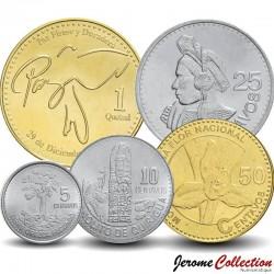 GUATEMALA - SET / LOT de 5 PIÈCES - 5 10 25 50 Centavos 1 Quetzal - 2012 2014 2015 2016 Km#276 277 284 294