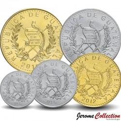 GUATEMALA - SET / LOT de 5 PIÈCES - 5 10 25 50 Centavos 1 Quetzal - 2012 2014 2015 2016
