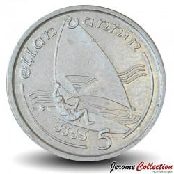 ILE DE MAN - PIECE de 5 Pence - Windsurfing - 1991 Km#209.2