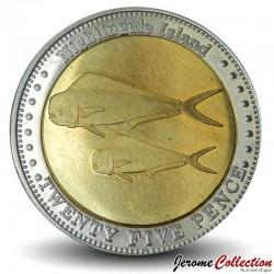 NIGHTINGALE ISLAND / TRISTAN DA CUNHA - PIECE de 25 Pence - Deux dorades coryphène - 2011 N#32596